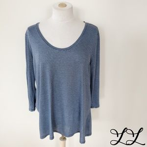 Nordstrom Signature Tee Shirt Top 3/4 Sleeve Blue